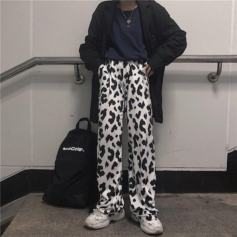 HOUZHOU Cow Print Pants Women Korean Style Cow Print Wide Leg Pants Harajuku Trousers Summer Korean Clothes Streetwear Women