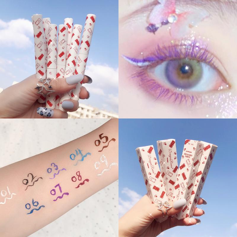 Delineador de ojos líquido de plata mate, 9 colores de larga duración, resistente al agua, maquillaje de belleza, no florece, TSLM1, 1 Uds.
