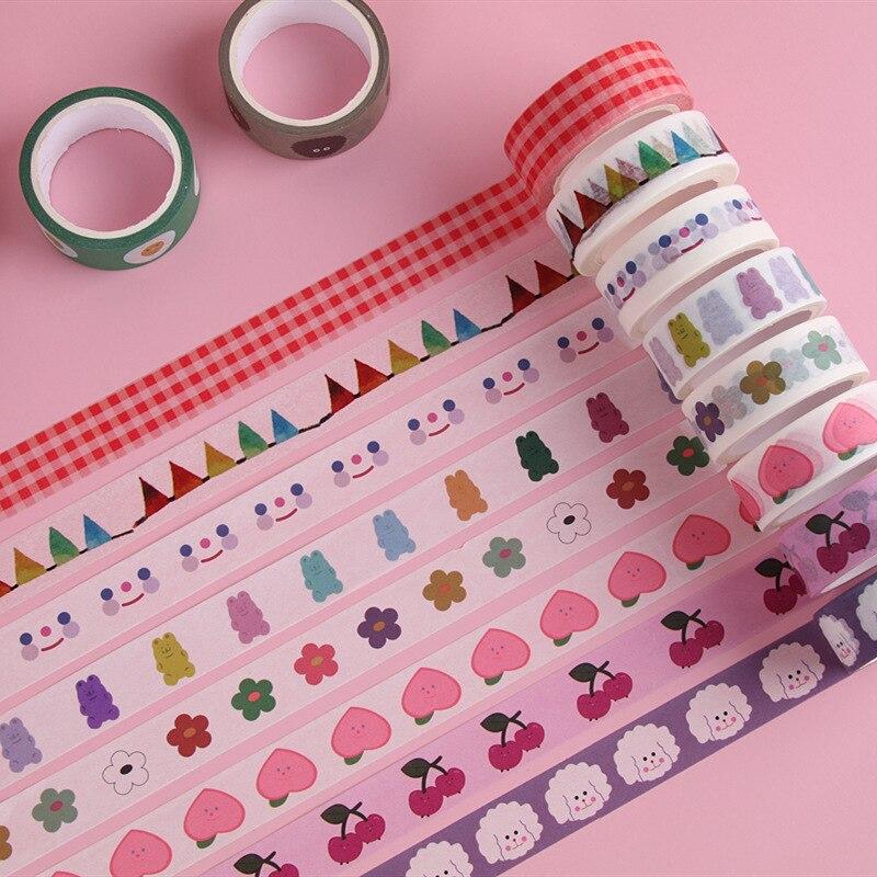 5m Cute Avocado Masking Washi Tape Kawaii Smile Face Heart Decorative Tape Diary Sticker Scrapbooking Korean Stationery Supplies