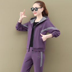 Three Piece Suit New Long Sleeve Purple suits Loose Fit Women Fashion Tide Hoodie Spring version 2021 spring 3 pcs set for women