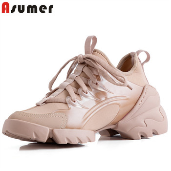 Asumer 2020 new fashion casual shoes women flat shoes round toe lace up spring summer comfortable simple sneaker woman pink