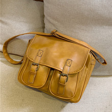 Vintage women Messenger bag Large capacity oil wax leather f