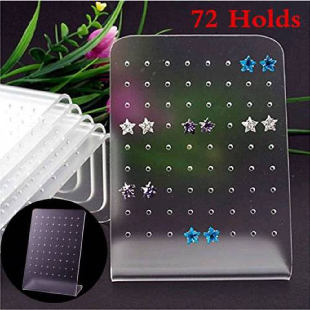 New 72 Holes Plastic 8x11cm Earrings Display Stud Plate Stand Holder Jewelry Display Holder Stand Showcase Organizer Shelf Mould