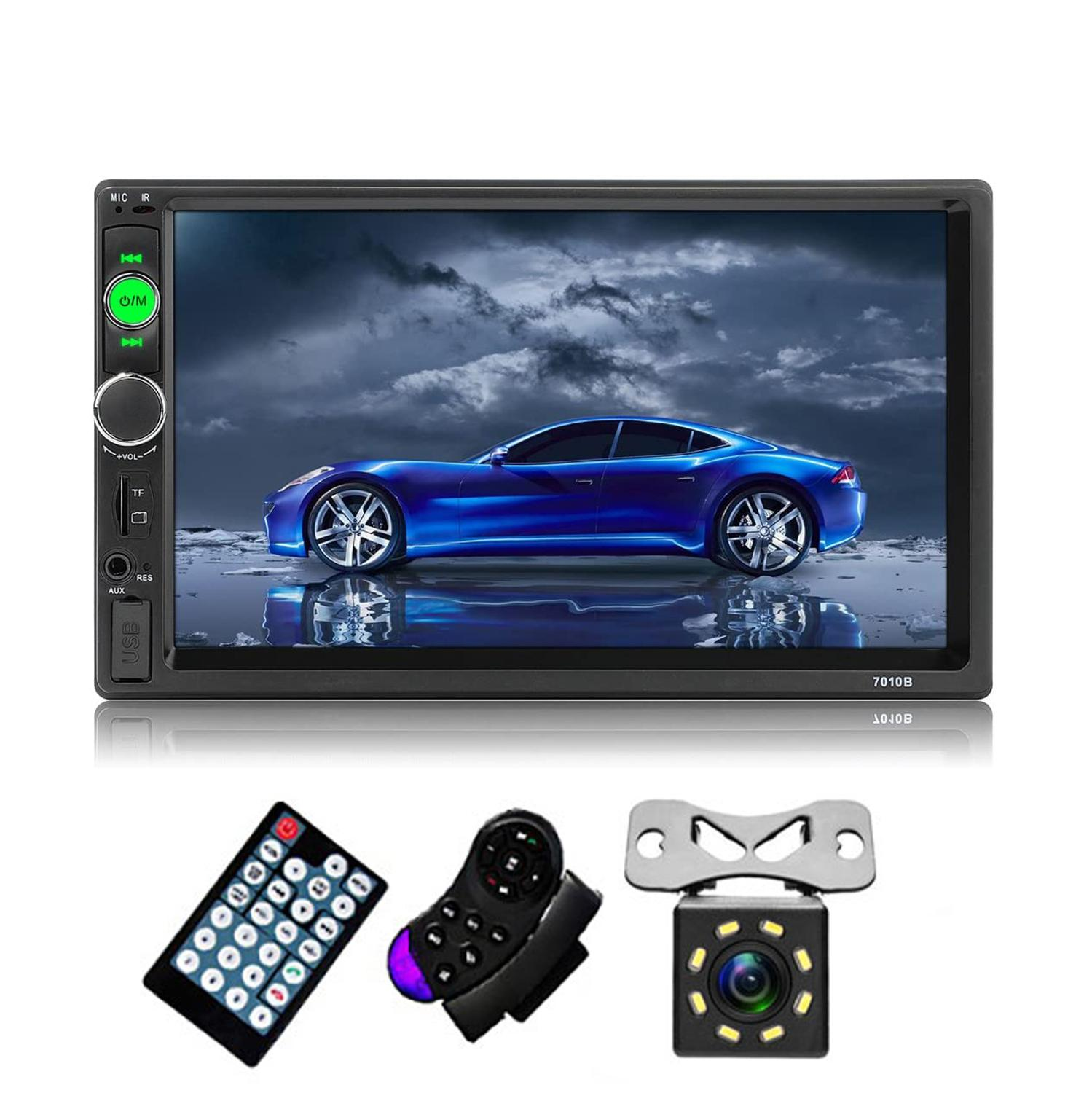2 Din Car Radio 7 inch Double Din Auto Stereo Audio Multimedia MP5 Player with HD Touch Screen Bluetooth USB Rear View Camera