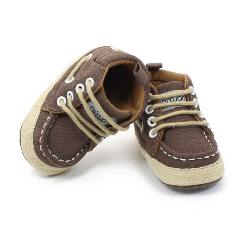 Baby Shoes Toddler Canvas Shoes Infant Baby Sneaker Crib Lace-Up First Walkers 0-18 Months