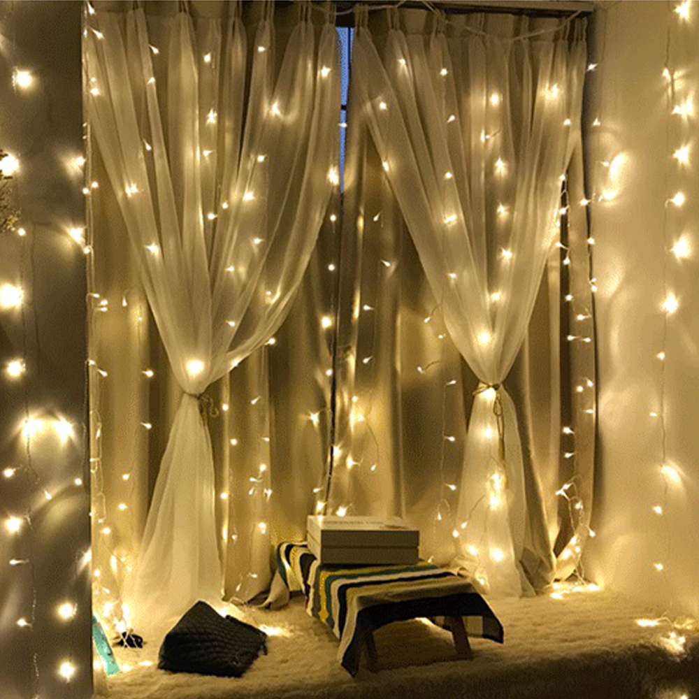 3x3m 3x2m 6x2m 300 LED Copper Wire Icicle Curtain Lights EU Plug Fairy Lights String Garland For Wedding Party Curtain Decor