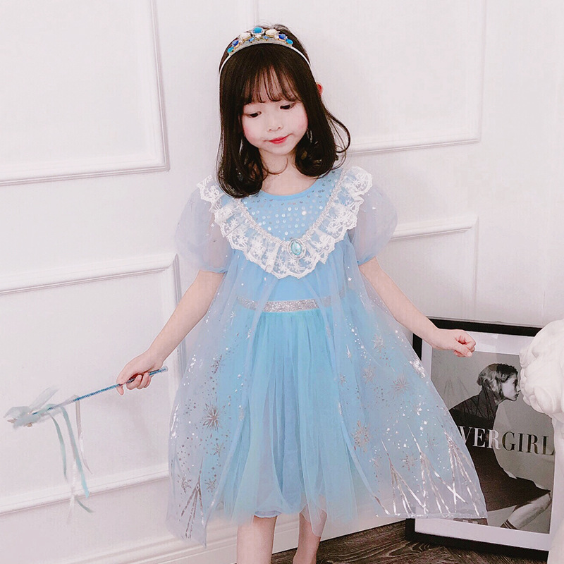 For Girls Fancy Queen Elsa Costume Bling Synthetic Crystal Bodice Cosplay Dress