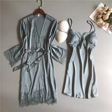 MECHCITIZ silk robe & gown set sexy sleepwear women lingerie dressing summer pajamas lace bathrobe lounge sleep set home pijamas