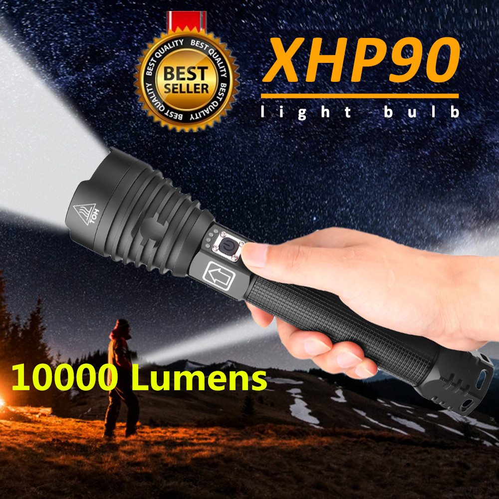 XHP90 Powerful LED Flashlights XHP50 XHP70 Zoom Tactical Torch Waterproof LED Flash Light 18650 26650 USB Rechargeable Linterna