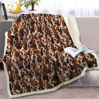 بطانية رمي كلب على السرير ثلاثية الأبعاد على شكل كلب شيربا من الصوف بطانية سبرينجر سبانيل لحاف بني رقيق بطانيات المنزل والحديقة -