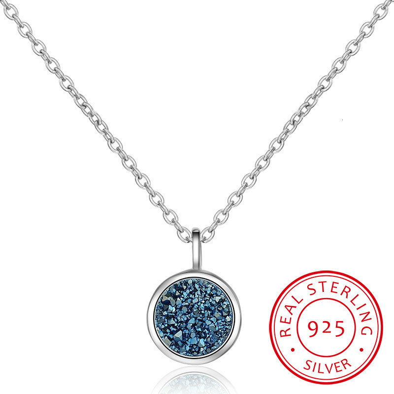 925 Sterling Silver Necklace Blue Crystal Fragment Dream Star Planet Necklace For Women Chain Choker S-n373