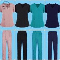 Frauen kurze-hülse V-ausschnitt einfarbig pflege arbeit peeling uniform anzug klinik krankenschwester uniform schutz kleidung pflege arbeiter labor