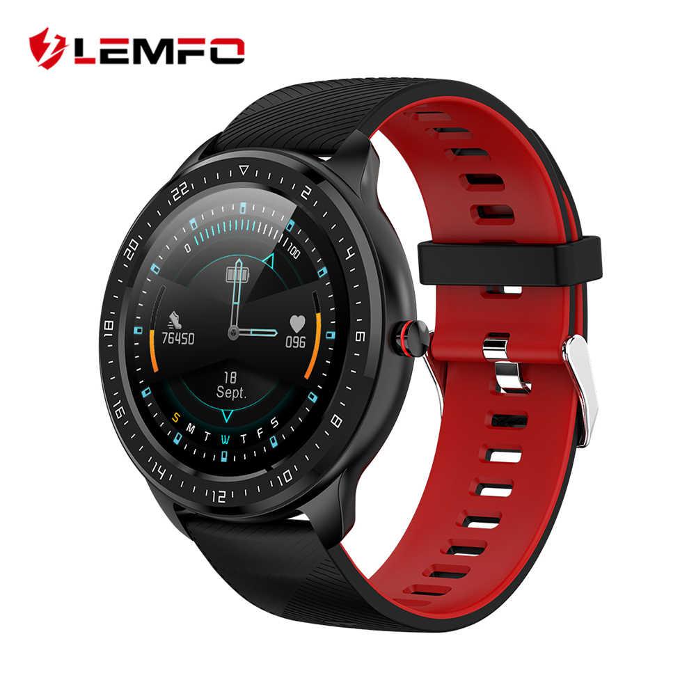 LEMFO جديد 1.3 بوصة شاشة كاملة تعمل باللمس ساعة ذكية الرجال معدل ضربات القلب مراقبة ضغط الدم للهاتف أندرويد IOS Smartwatch