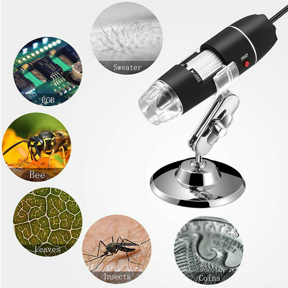 1000X Zoom HD 1080P USB Microscope Digital Magnifier Endoscope Video Camera With 8LED Meet Various Industrial Needs