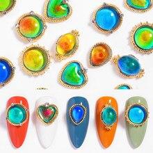 Joyería para uñas con cambio de temperatura, superllamativas, decoración de uñas de lujo, piedras de ópalo, diamantes de imitación, purpurina mixta, Strass para decoración de uñas