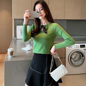 Ailegogo New Spring Women Knitted Sweater Casual Female Butterfly Collar Slim Fit Pullovers Solid Color Korean Style Knitwear 4