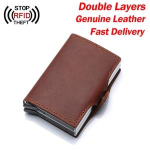Image 3 - Ví Nam Da Thật Thẻ Hai Lớp RFID Ngăn Chặn Ví Nam ID Đựng Thẻ Ngân Hàng Thời Trang Ví Ví Thẻ