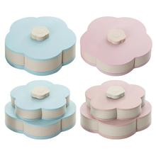 Petal-Shape Rotating Snack Box Candy Tray Food Storage Dried Fruit Organizer Necessary Household Admission Supplies