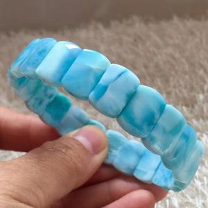 Image 5 - Certificate Natural Blue Larimar Rectangle Beads Bracelet Women Men 13x8mm Stretch Crystal Water Pattern Jewelry AAAAA