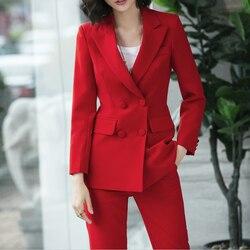 2019 Nieuwe kantoor werk blazer kostuums van hoge kwaliteit OL vrouwen broek pak blazers jassen met broek twee stukken set rood roze blauw