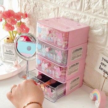 Creative Cosmetic Box Cartoon My Melody Little Twin Stars Cute Drawer Storage Makeup Case Girls Kawaii Desktop Plastic Organizer