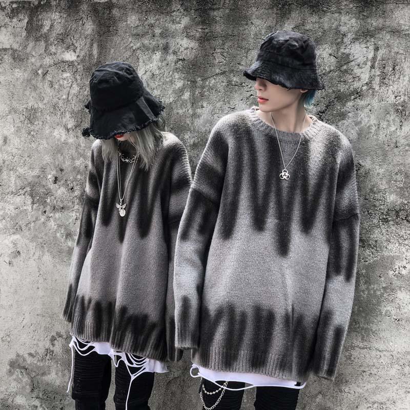 2019 High Street Hand-painted Inkjet Loose Alpaca Sweater Round Neck Pullover Hip Hop Men And Women Oversize Sweater