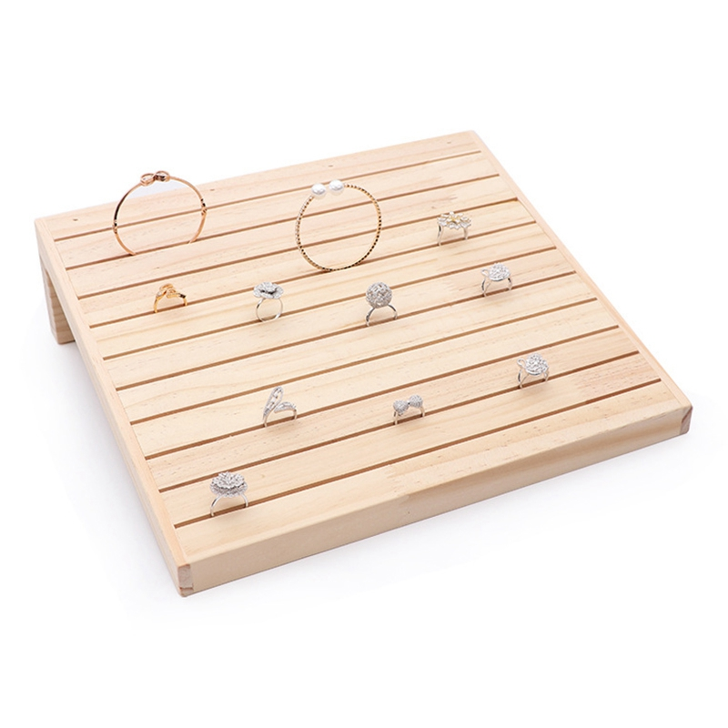 Wood Ring Display Case Jewelry Display Tray Holder Storage Organizer Case For Counter Display