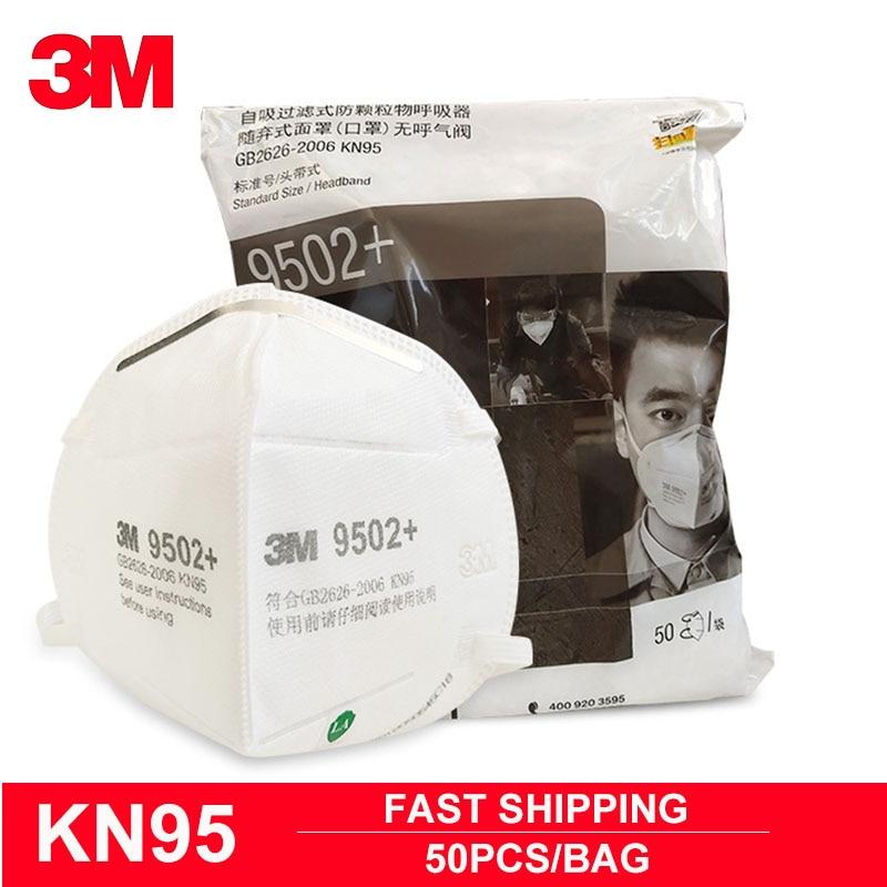 50pcs/Pack 3M 9502+ Mask KN95 Anti-dust Anti-splash Haze Riding Anti-particles Protective Masks Working Safety Face Masks