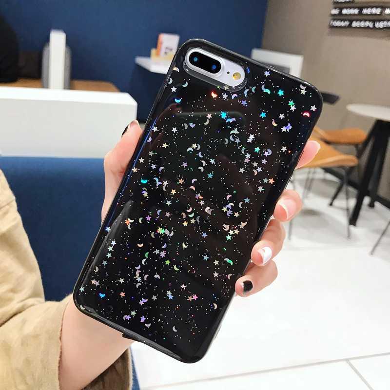 بريق جل جراب هاتف من البولي يوريثان للهاتف 6 6S 7 8 plus غطاء لون نجمة القمر الساطع بلينغ آيفون 11 PR0 X XS Max XR لينة فوندا