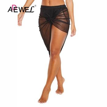 ADEWEL Black Twist Ruched Beach Skirt Women Bikinis Swimsuit Bathing Suit Cover-ups Sexy Beach Skirts Lightweight Beachwear