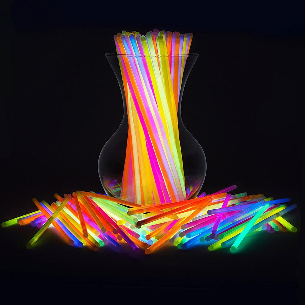 50Pcs Colorful Luminous Glow Sticks Glowsticks DIY Bracelet Necklace Party Props Ideal For Party/ Concert Props Night Running