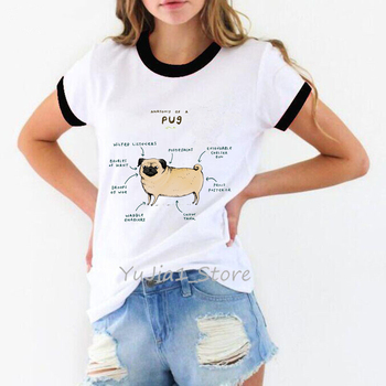 Anatomy of the pug dog animal print t-shirt women graphic tee shirt femme harajuku kawaii clothes white tshirt streetwear tops