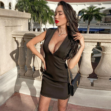 Bandage Dress Embellished Crystal Ocstrade Summer Women Arrrival Night-Club Black Bodycon