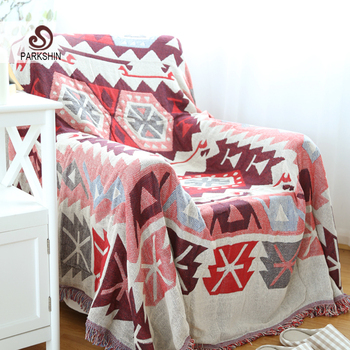 Parkshin Red Rectangle 100% Cotton Knitted Blanket Bed Cover Bohemian Style Sofa Cover Decor Home Textiles Blanket Bedspread