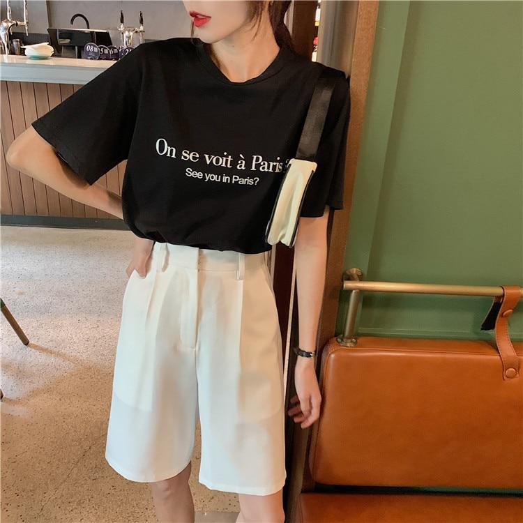 H15383205fa3041ee9499602f09a05979B - Summer High Waist Wide Leg Loose Solid Shorts