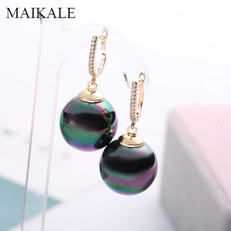 MAIKALE Fashion Red Black Pearl Earrings Zirconia Gold Silver Color Big Ball Earrings with Pearl Drop Earrings for Women Gifts