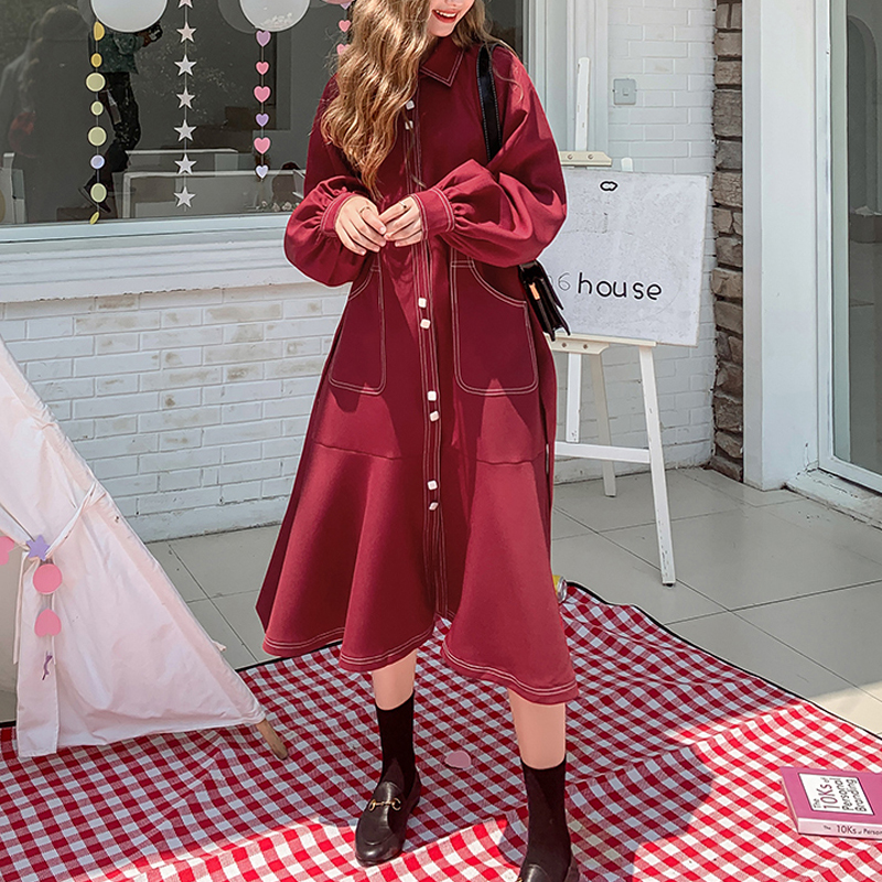 Vintage Wine red Single-breasted Women   Trench   Coat Autumn Winter Fashion Turn Collar Belted Long Outwear Casual Female Overcoat