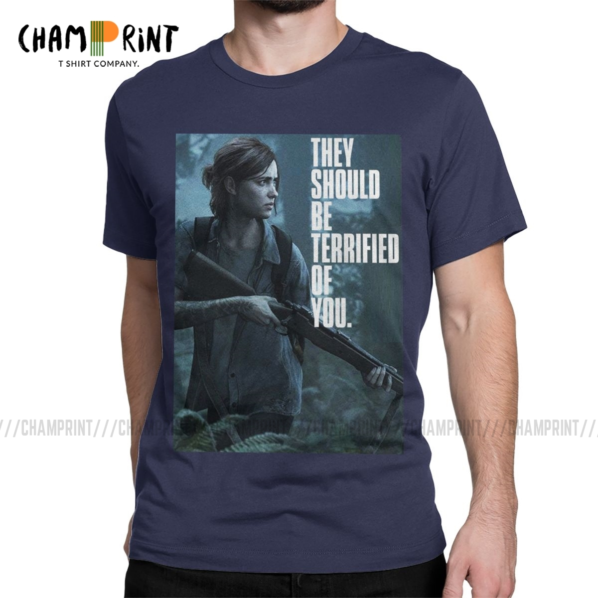 Vintage The Last Of Us Part 2 Ellie Terrified Of You T-Shirts Men O Neck 100% Cotton T Shirt Short Sleeve Tees Plus Size Clothes