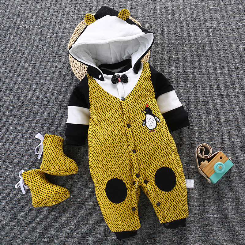 2019 Winter Baby Romper For Newborn Clothes Infant Baby Boys Jumpsuit Overalls Warm Thick Outerwear Baby Clothing One Piece