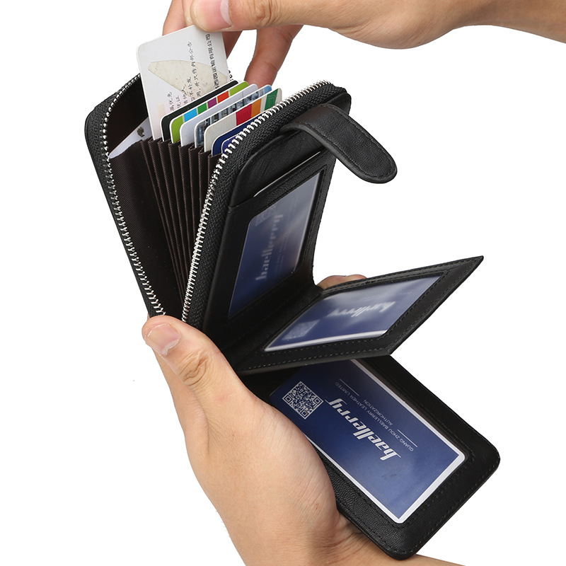 Business Fold Extendable Zipper Men Wallet Casual Purses Retro Leather Wallets Multifunctional Card Holder Purse Short Money Bag