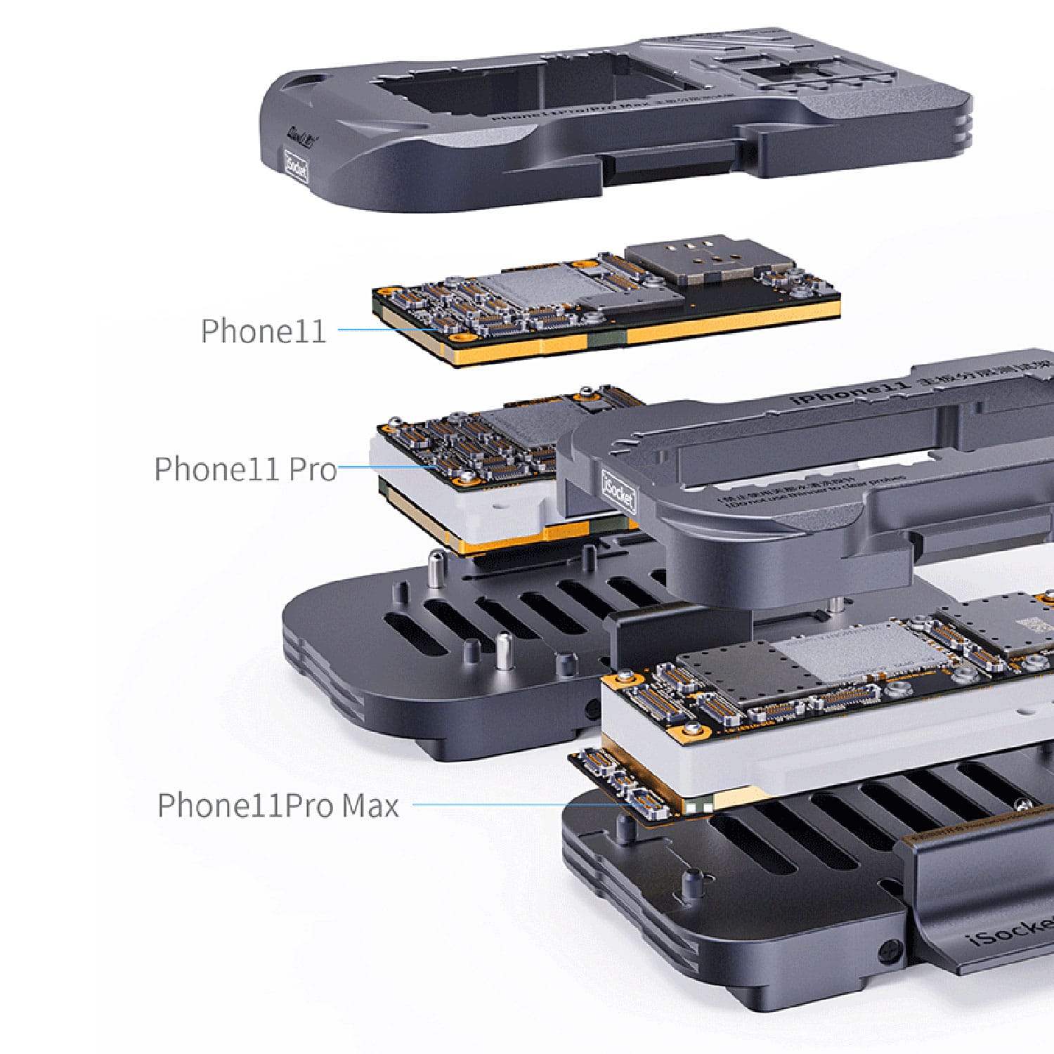 Tools : Qianli iSocket PCB Separating Testing Fixture for iPhone 11 11PRO PRO Max Motherboard Test Frame Main Board Function Tester