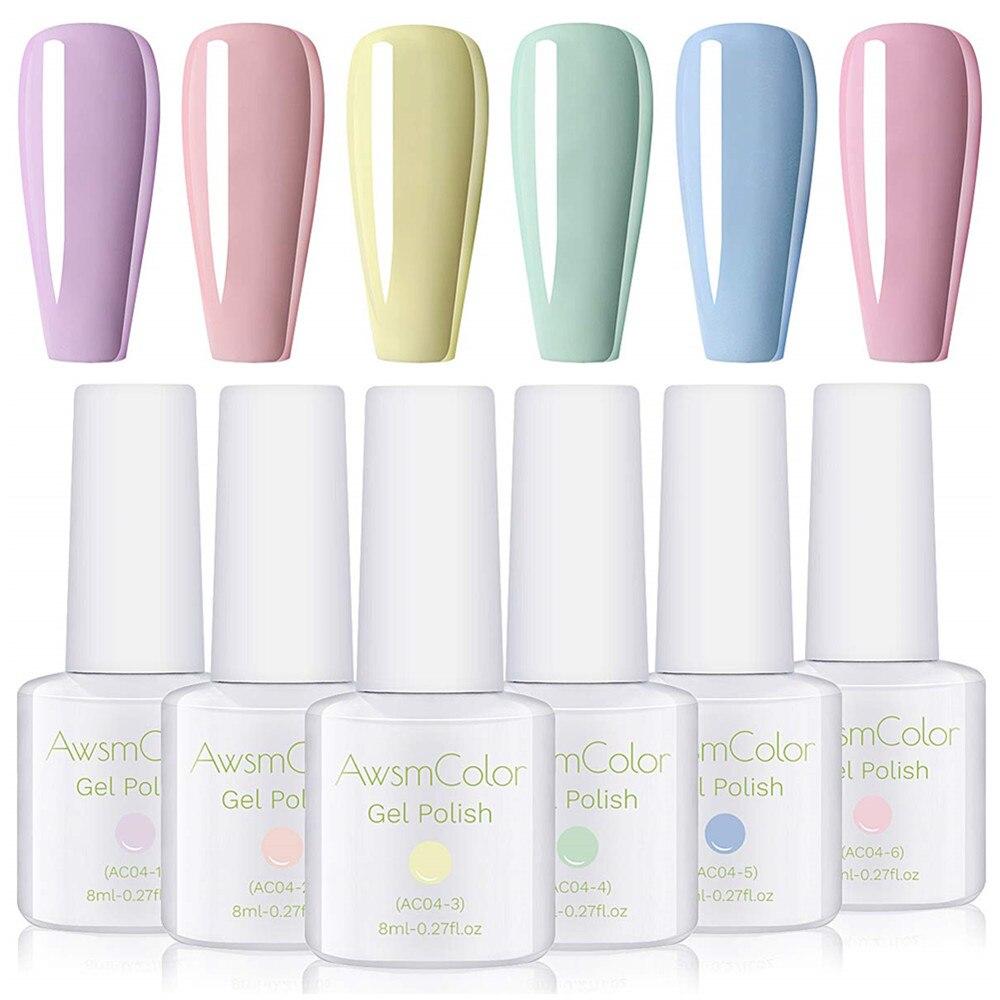 AwsmColor Gel Nail Polish Set, Pastel Color UV LED Soak Off Nail Gel Kit, Pastel Dusty Soothing Pale Color Christmas Nail Art