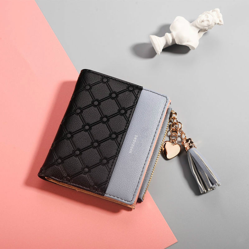Tassel Leather Wallet Women Luxury Brand Famous Small Women Wallets Purses Female Short Coin Zipper Purse Credit Card Holder