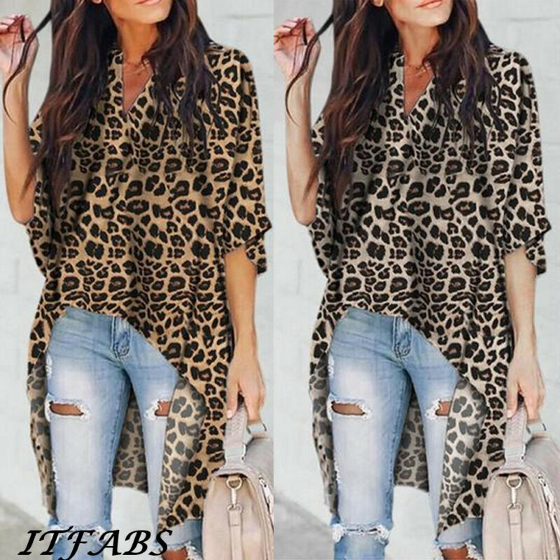 2019 New Fashion Women's Casual V-Neck   Blouse   Half Flare Sleeve Long   Shirt   Ladies Irregular Leopard Print Tops and   Blouse