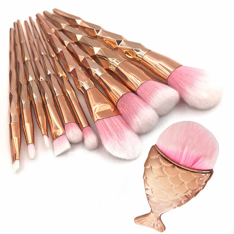 11Pcs Diamond Rose Gold ชุดแปรงแต่งหน้า Mermaid Fishtail รูป Foundation แป้งเครื่องสำอางค์แปรง Rainbow Eyebrow Brush Kit