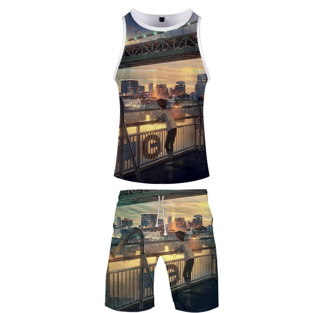 2019 Summer Two Piece Set Comfy Casual  Shot Sleeve Tshirt + Beach Shorts Men's Streetwear Sports Shorts Set