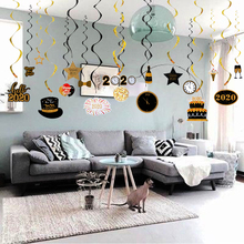 30pcs 2020 Happy New Year Foil Spiral Garland Eve Party Decor Christmas for Home Pendant Ornament