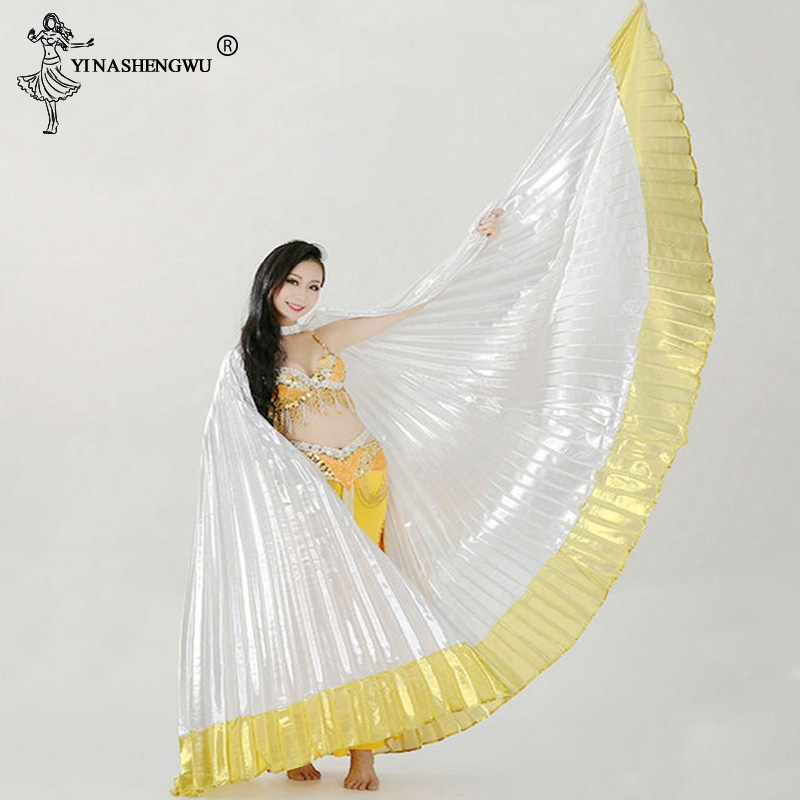 Belly Dance Isis Wings Belly Dance Accessory Bollywood Oriental Egypt Egyptian Wings Costume Adult Women Gold(Without Sticks)