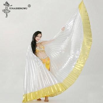 Taniec brzucha skrzydła Isis akcesoria do tańca brzucha Bollywood orientalne egipskie skrzydła egipskie kostium dla dorosłych kobiet złoto (bez patyczków) tanie i dobre opinie YI NA SHENG WU WOMEN Poliester spandex Belly Dancing piece 0 34kg (0 67lb ) 10cm x 20cm x 10cm (3 94in x 7 87in x 3 94in)
