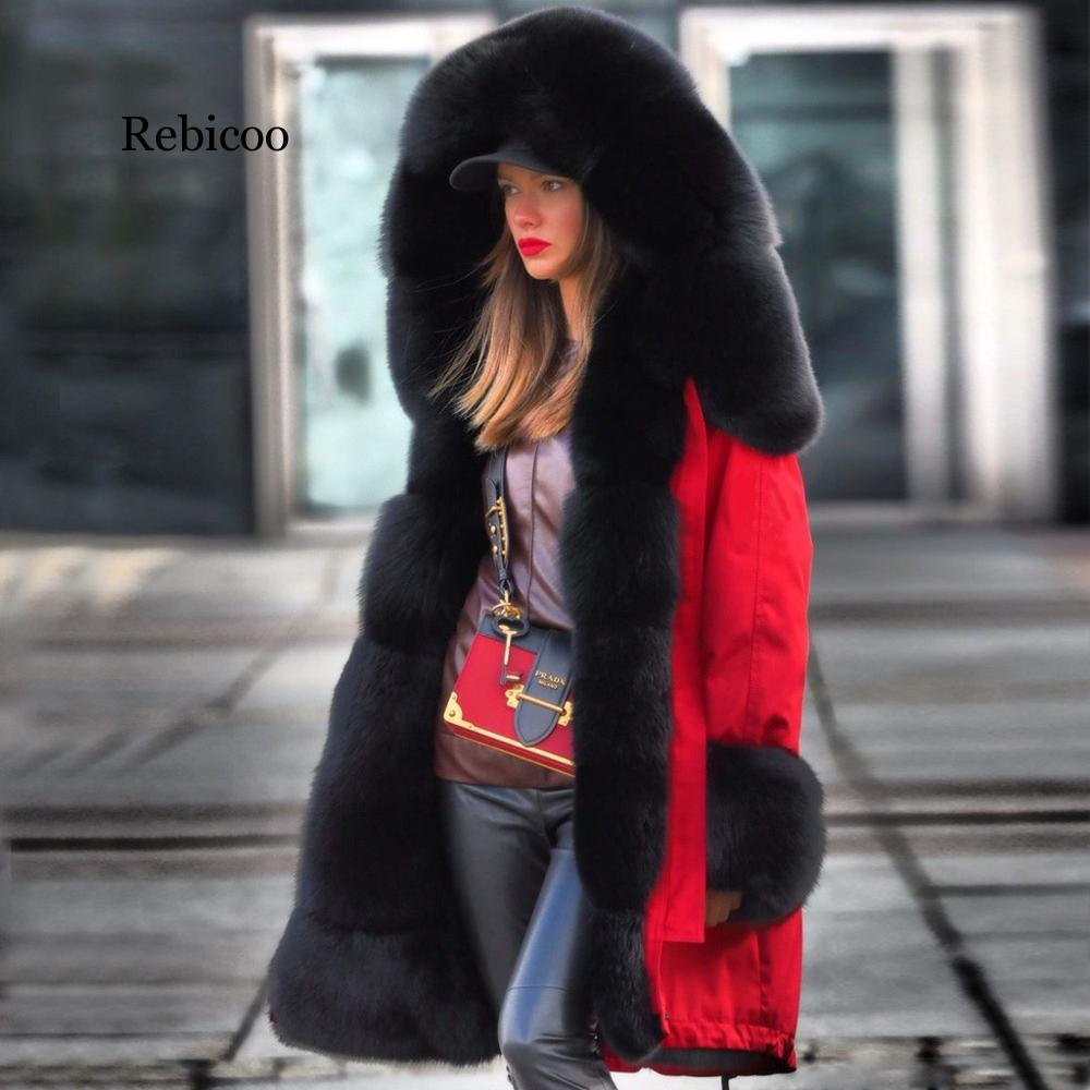 Winter Coat Clothing Parkas Hooded Fur-Lining Snow-Wear Female Long Women Thick Fleeze-30-Degrees title=